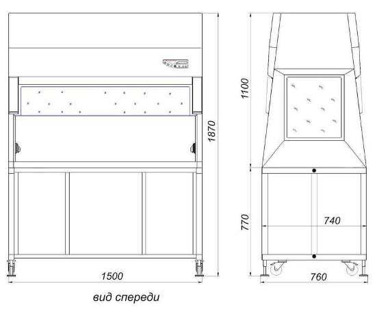 Габаритные размеры укрытия БАВнп-01-Ламинар-С-1,5 LORICA VIS-A-VIS