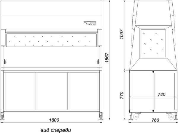 Габаритные размеры ламинарного бокса БАВнп-01-Ламинар-С-1,8 LORICA VIS-A-VIS