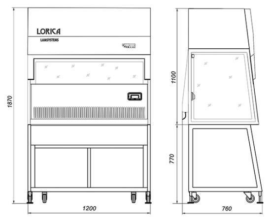 Габаритные размеры ламинарного бокса БАВнп-01-Ламинар-С-1,2 LORICA
