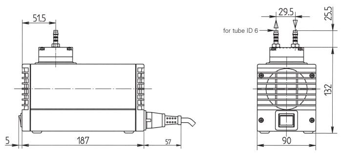 Размеры мини насоса-компрессора KNF LABOPORT N 811 KT.18