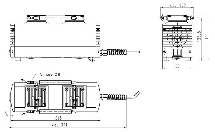 Размеры диафрагменного насоса KNF LABOPORT N 816.1.2 KT.18