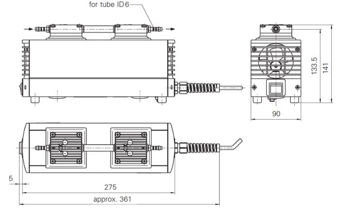 Размеры диафрагменного насоса KNF LABOPORT N 816.3 KT.45.18