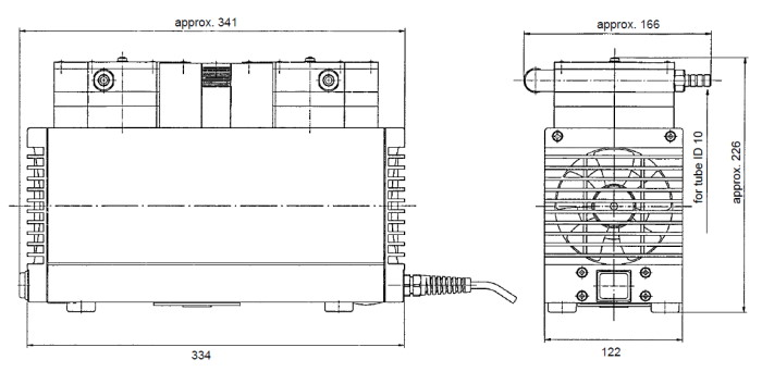 Размеры мембранного насоса KNF LABOPORT N 840.3 FT.18
