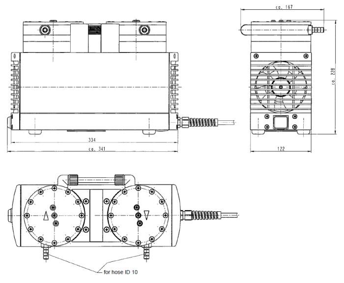 Размеры мембранного насоса KNF LABOPORT N 842.3 FT.18