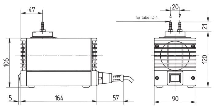 Размеры мини насоса-компрессора KNF LABOPORT N 86 KN.18