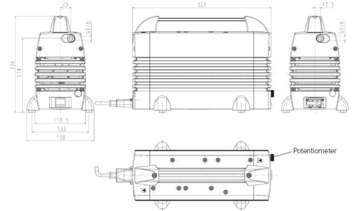 Размеры диафрагменного насоса KNF N 920 G