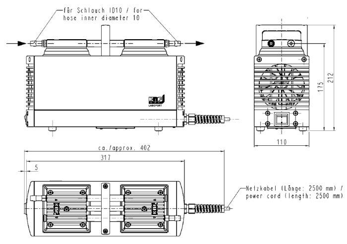 Размеры мембранного насоса KNF N 938.50 KT.18