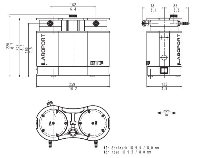Размеры мембранного насоса KNF N 820 G