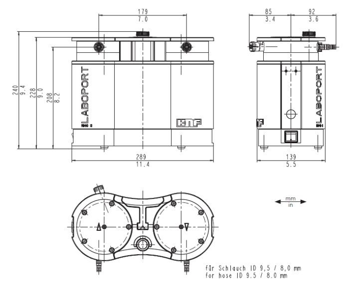 Размеры мембранного насоса KNF Laboport N 840 G