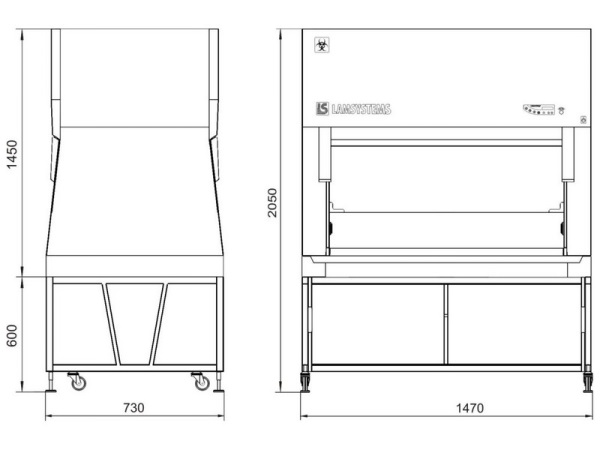 Габаритные размеры БМБ класс II Ламинар-С NEOTERIC VIS-A-VIS для работы друг напротив друга