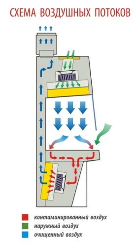 Схема воздушных потоков БМБ класс II тип B2