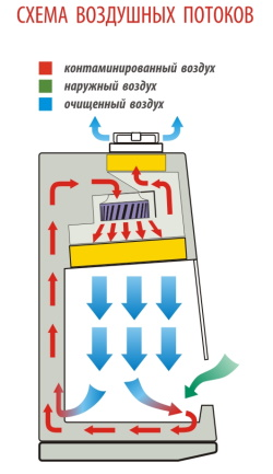 Схема воздушных потоков БМБ класс II Ламинар-С NEOTERIC