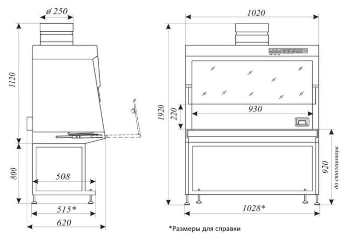 Медицинский вытяжной шкаф ШВ-Ламинар-С-1,0 с УФ - габаритный чертеж