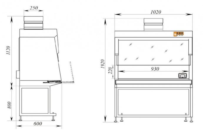 Габаритные размеры лабораторного вытяжного шкафа ШВ-Ламинар-С - 1,0