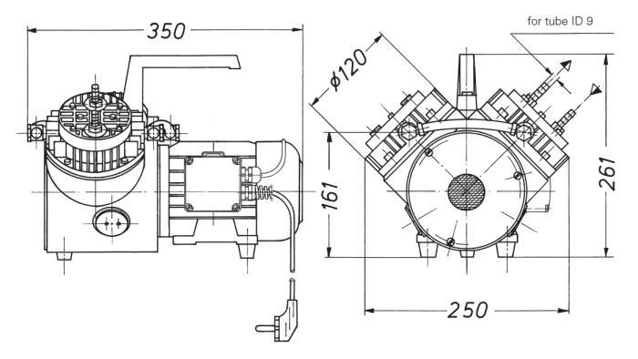 Размеры мембранного насоса и компрессора KNF N 145.1.2 AN.18