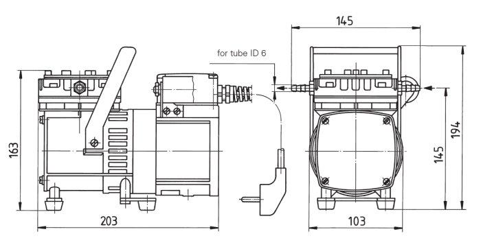Размеры мембранного насоса и компрессора KNF N 022 AN.18