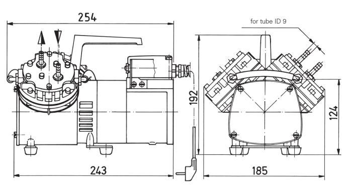 Размеры мембранного насоса и компрессора KNF N 026.1.2 AN.18