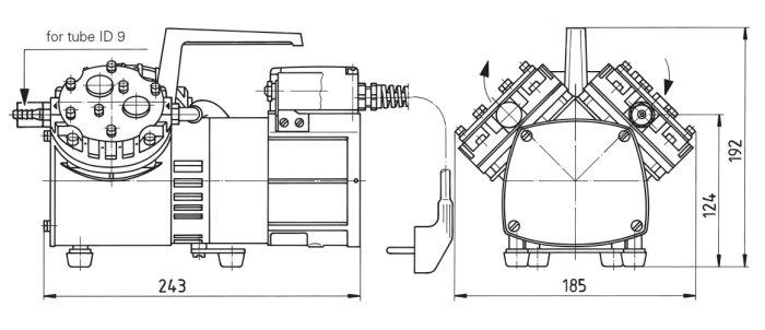 Размеры мембранного двухступенчатого насоса KNF N 026.3 AN.18