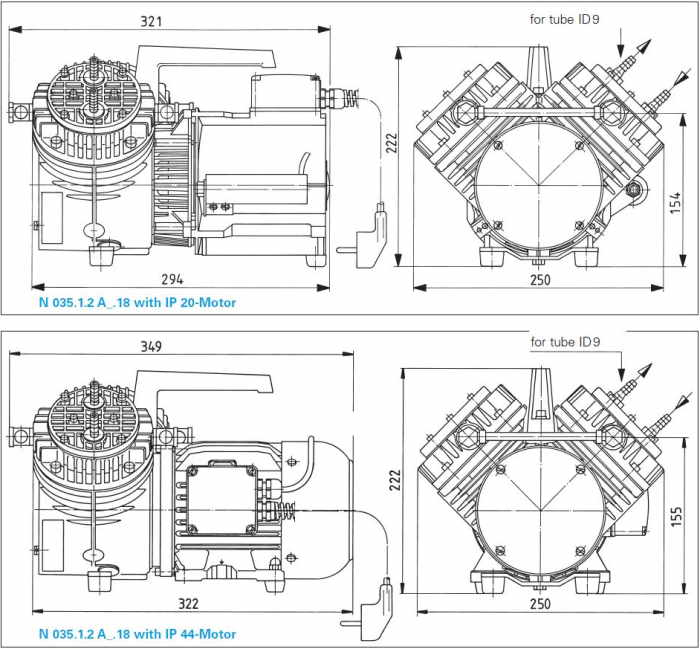 Размеры мембранного насоса и компрессора KNF N 035.1.2 AN.18