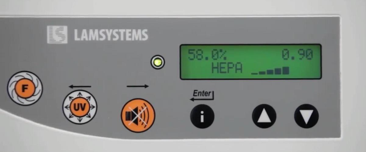 Индикация уровня засоренности фильтра на панели управления бокса Ламинар-С